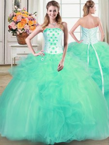 Floor Length Turquoise Quinceanera Dress Strapless Sleeveless Lace Up