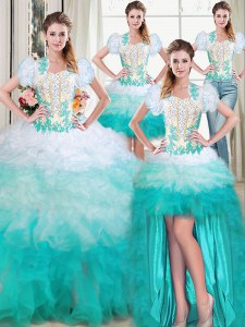 Cheap Four Piece Multi-color Sleeveless Beading and Appliques and Ruffles Floor Length Quince Ball Gowns