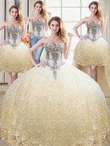 Clearance Four Piece Champagne Ball Gowns Tulle and Lace Sweetheart Sleeveless Beading and Lace Floor Length Lace Up Vestidos de Quinceanera
