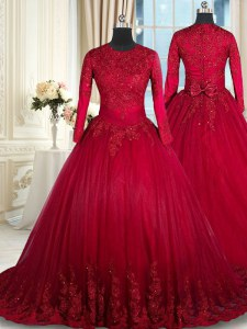 Edgy Scoop Long Sleeves Beading and Lace and Bowknot Clasp Handle Quince Ball Gowns