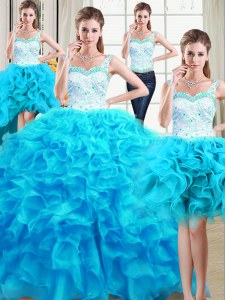 Popular Four Piece Straps Floor Length Lace Up Quinceanera Dress Baby Blue for Military Ball and Sweet 16 and Quinceanera with Beading and Ruffles