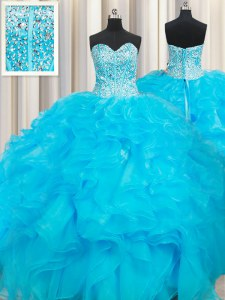 Nice Floor Length Baby Blue Sweet 16 Dresses Organza Sleeveless Beading and Ruffles