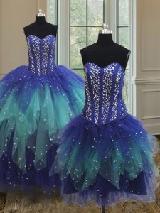 Customized Three Piece Floor Length Multi-color Quinceanera Gown Sweetheart Sleeveless Lace Up