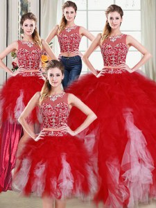 Designer Four Piece Scoop Floor Length Two Pieces Sleeveless White and Red 15 Quinceanera Dress Zipper