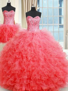 Three Piece Coral Red Sweetheart Neckline Beading and Ruffles Sweet 16 Quinceanera Dress Sleeveless Lace Up