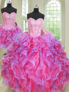 Three Piece Multi-color Organza Lace Up 15th Birthday Dress Sleeveless Floor Length Beading and Ruffles
