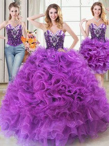 Ideal Three Piece Sweetheart Sleeveless Organza Vestidos de Quinceanera Beading and Ruffles Lace Up