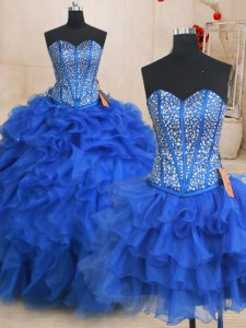 Pretty Three Piece Royal Blue Sleeveless Organza Lace Up Quinceanera Dress for Military Ball and Sweet 16 and Quinceanera