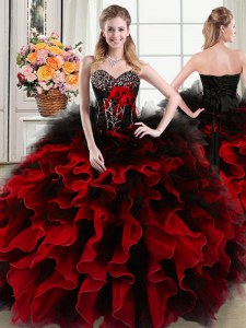 High Quality Beading and Ruffles and Hand Made Flower Quince Ball Gowns Black and Red Lace Up Sleeveless Floor Length