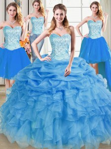 Modest Four Piece Sleeveless Beading and Ruffles and Pick Ups Lace Up Quinceanera Gowns