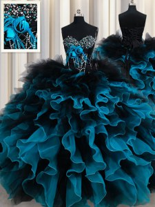 New Style Organza and Tulle Sleeveless Floor Length 15 Quinceanera Dress and Beading and Ruffles and Hand Made Flower