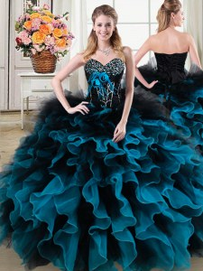 Gorgeous Sweetheart Sleeveless Sweet 16 Dress Floor Length Beading and Ruffles and Hand Made Flower Black and Blue Organza and Tulle
