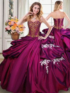 Best Burgundy Taffeta Lace Up Sweetheart Sleeveless Floor Length Ball Gown Prom Dress Beading and Appliques and Pick Ups