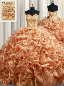 Pick Ups Champagne Sleeveless Organza Court Train Lace Up Quinceanera Gowns for Military Ball and Sweet 16 and Quinceanera