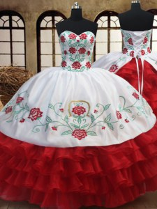 Hot Selling Sweetheart Sleeveless Organza 15 Quinceanera Dress Embroidery and Ruffled Layers Lace Up