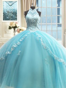 Top Selling Halter Top Sleeveless Tulle Floor Length Lace Up Vestidos de Quinceanera in Aqua Blue with Beading and Lace and Appliques