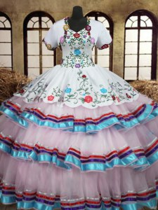 Straps White Lace Up 15 Quinceanera Dress Embroidery and Ruffled Layers Sleeveless Floor Length