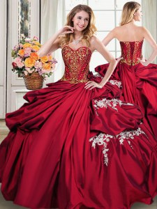 Smart Pick Ups Floor Length Ball Gowns Sleeveless Wine Red Quinceanera Gowns Lace Up