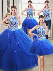 Fantastic Four Piece Halter Top Sleeveless Tulle Floor Length Lace Up Quinceanera Dress in Royal Blue with Beading and Pick Ups
