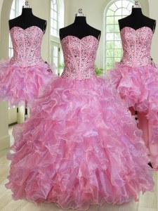 Best Four Piece Sweetheart Sleeveless Organza Quince Ball Gowns Beading and Ruffles Lace Up