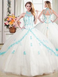 Halter Top White Sleeveless Floor Length Beading and Appliques Lace Up Quinceanera Dress