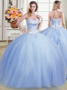 Light Blue Lace Up Quinceanera Dress Beading Sleeveless Floor Length