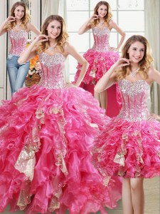 Four Piece Sleeveless Organza Floor Length Lace Up 15 Quinceanera Dress in Hot Pink with Beading and Ruffles and Sequins