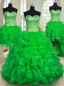 Four Piece Green Ball Gowns Sweetheart Sleeveless Organza Floor Length Lace Up Beading and Ruffles Quince Ball Gowns