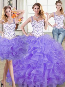 Dramatic Lavender Ball Gowns Straps Sleeveless Organza Floor Length Lace Up Beading and Lace and Ruffles Sweet 16 Dress