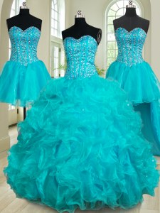 Four Piece Floor Length Lace Up Quinceanera Gowns Teal for Military Ball and Sweet 16 and Quinceanera with Beading and Ruffles