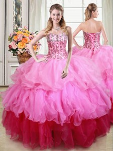 Free and Easy Sleeveless Lace Up Floor Length Ruffles and Sequins Quinceanera Gowns