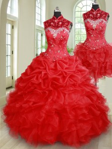 Popular Three Piece Sleeveless Floor Length Beading and Ruffles and Pick Ups Lace Up Vestidos de Quinceanera with Red