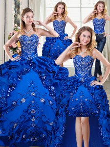 Four Piece Floor Length Royal Blue Vestidos de Quinceanera Organza and Taffeta Sleeveless Beading and Embroidery and Pick Ups
