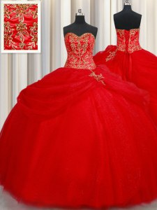 Red Lace Up Sweetheart Beading and Pick Ups Sweet 16 Quinceanera Dress Tulle Sleeveless