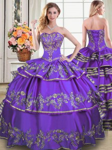 Eggplant Purple Ball Gowns Taffeta Sweetheart Sleeveless Beading and Embroidery and Ruffled Layers Floor Length Lace Up 15 Quinceanera Dress