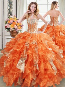 Orange Sweetheart Lace Up Beading and Ruffles and Sequins Vestidos de Quinceanera Sleeveless