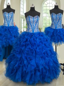 Attractive Four Piece Floor Length Ball Gowns Sleeveless Royal Blue Sweet 16 Quinceanera Dress Lace Up
