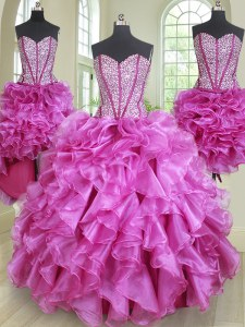 Excellent Four Piece Fuchsia Sweetheart Neckline Beading and Ruffles Sweet 16 Quinceanera Dress Sleeveless Lace Up