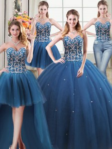 Four Piece Floor Length Ball Gowns Sleeveless Teal Quinceanera Dress Lace Up