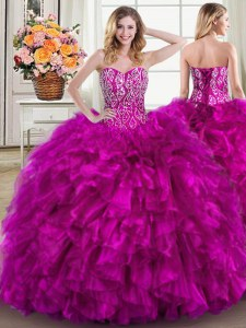 Lace Up Quinceanera Gowns Fuchsia for Military Ball and Sweet 16 and Quinceanera with Beading and Ruffles Brush Train