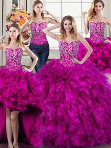 Captivating Four Piece Fuchsia Lace Up Sweetheart Beading and Ruffles Sweet 16 Quinceanera Dress Organza Sleeveless