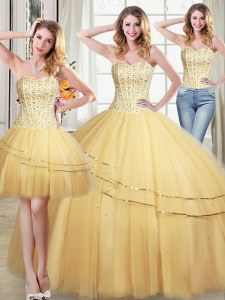 Enchanting Three Piece Sequins Floor Length Ball Gowns Sleeveless Gold Sweet 16 Dress Lace Up