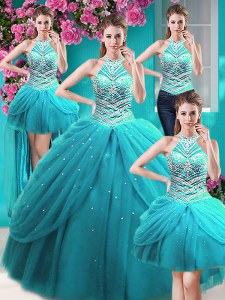 Four Piece Halter Top Sleeveless Sweet 16 Dresses Floor Length Beading and Pick Ups Aqua Blue Tulle