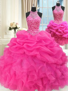 Fashionable Three Piece Hot Pink Lace Up Halter Top Beading and Ruffles and Pick Ups Sweet 16 Dresses Organza Sleeveless