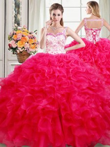Straps Sleeveless Lace Up Quinceanera Dress Hot Pink Organza