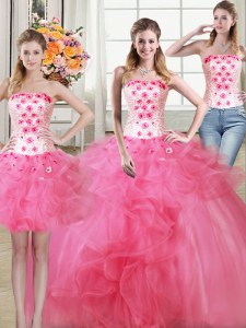 Glittering Three Piece Hot Pink Sleeveless Beading and Appliques and Ruffles Floor Length Quinceanera Dresses
