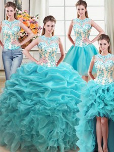 High Quality Four Piece Scoop Sleeveless Organza 15 Quinceanera Dress Beading and Ruffles Lace Up