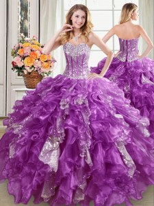 Noble Sleeveless Organza Floor Length Lace Up Ball Gown Prom Dress in Purple with Beading and Ruffles and Sequins