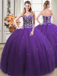Sleeveless Lace Up Floor Length Beading Quinceanera Gown