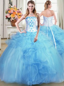 Customized Light Blue Ball Gowns Tulle Strapless Sleeveless Beading and Appliques and Ruffles Floor Length Lace Up Vestidos de Quinceanera